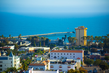 A beautiful view of the Pacific Ocean and the City of Ventura, California. Stock Photo