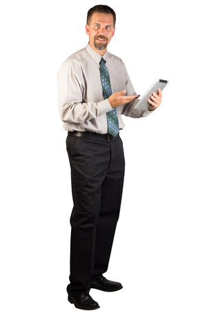 A white collar worker is standing and explaining the use of tablet.