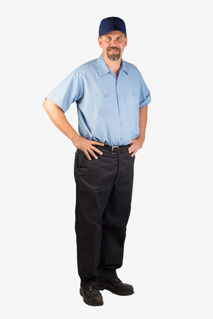 A cheerful service technician ready to be of service with your next project.  Stock Photo