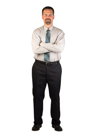 A white collar worker standing facing the camera with a strong stance of confidence  Stock Photo