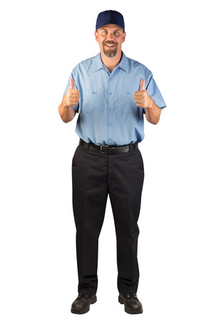 A blue collar worker standing, facing the camera with thumbs up in approval