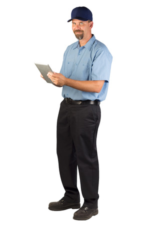 A blue collar service technician Stock Photo