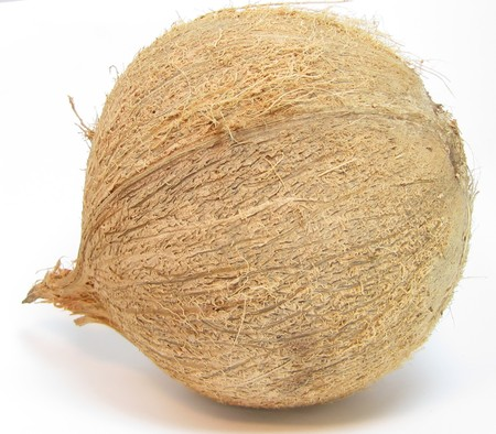 A single coconut seed on a white background showing husky texture