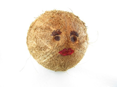 whimsey: Face made by drawing on the face portion of the coconut.