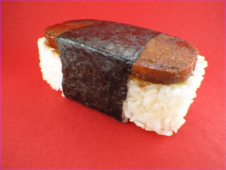 Sushi - Musubi made with nori, luncheon meat - spam, seaweed and rice - a favorite in Hawaii
