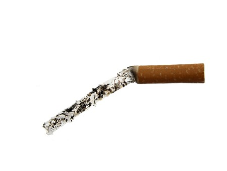 A tobacco cigarette with an extremely long ash depicting erectile dysfunction