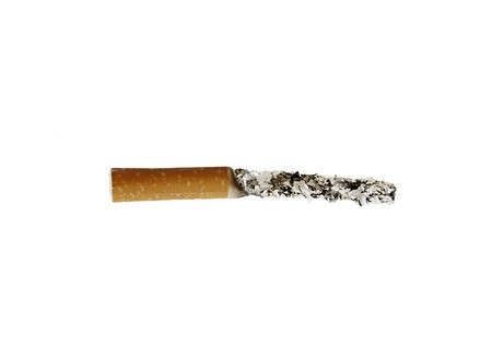 A tobacco cigarette with an extremely long ash Stock Photo