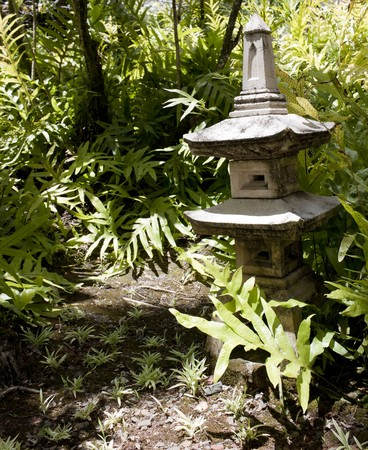 japanese lantern structure in a tropical garden Stock Photo - 7608577