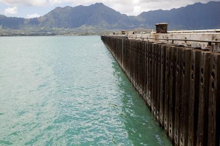 pier with koolau mountain range in background