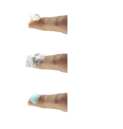fingers with lotions and gels isolated on a white background