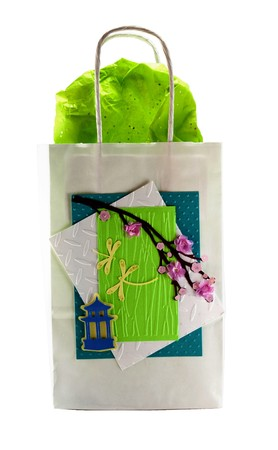 Hand made gift bag isolated on a white background photo