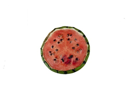 Half a dried up and dehydrated watermelon  half isolated on a white background