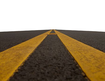 double yellow lined road isolated on a white background Stock Photo
