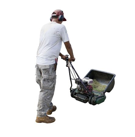 Yard man with lawn mower isolated on a white background
