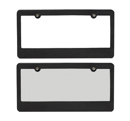 License plate borders one blank one with reflective plate isolated on a white background