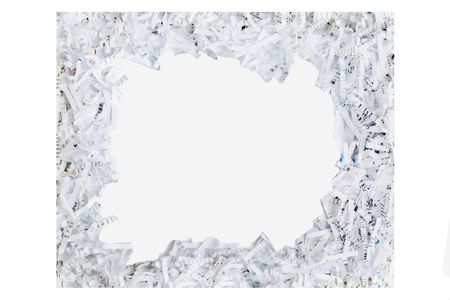 frame made out of shredded paper isolated on a white background   Stock Photo