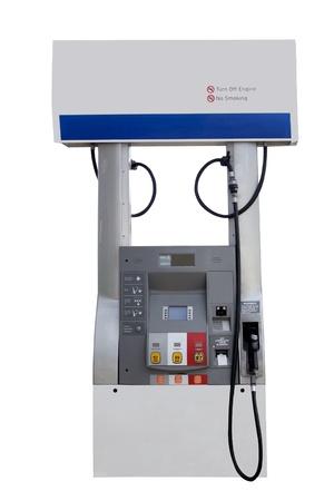 dispensador: estaci�n de bombeo de combustible para la gasolina aislado en un fondo blanco Foto de archivo