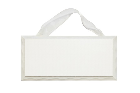 blank white wooden sign with ribbon
