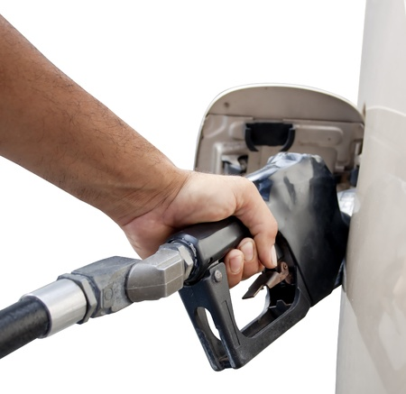 male hand pumping gas Stock Photo