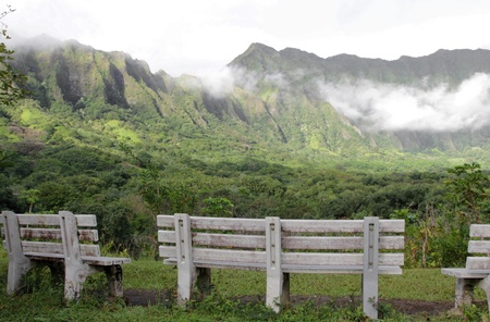 Koolau Mountains in Hawaii, peaceful scene with benches