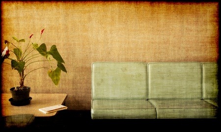 space area: Grungy photo of a Room with chairs, potted plant and a book Stock Photo