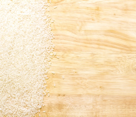 white rice on cutting board with copy space to the right Stok Fotoğraf
