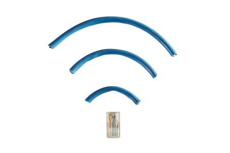 An ethernet cord cut into pieces and shaped into wireless symbol