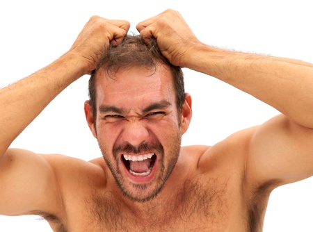 man upset and pulling his hair on a white background Stock Photo