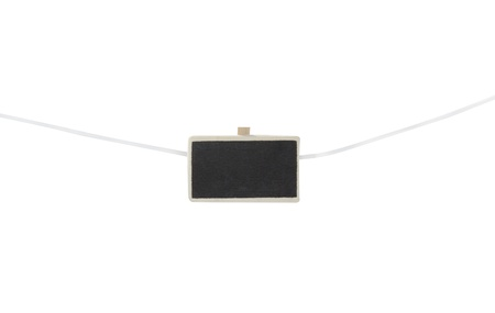 one mini chalkboard on a clothesline  isolated on a white background