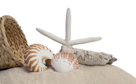 seashells, basket, starfish and sand on white background