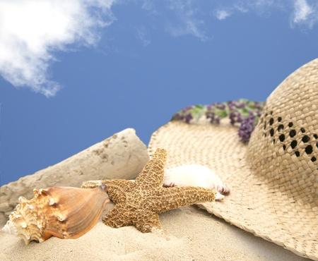 chapeau de paille: scène d'été d'un chapeau de plage sur le sable avec des coquillages et bleu ciel