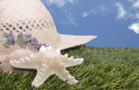 straw hat on grass with starfish and blue sky