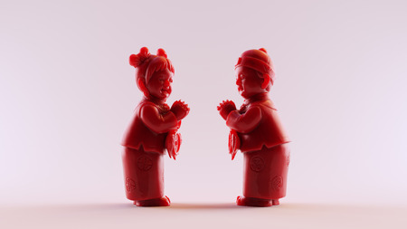Boy and Girl figurines wishing Happy Chinese new year to each other  scan is from thingiverse.comstrongheroabout - (CC Attribution)