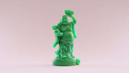 Jade Maitreya Figurine / 3D illustration / 3D rendering / scan is from stronghero thingiverse.com/thing:2431705 - (CC Attribution)