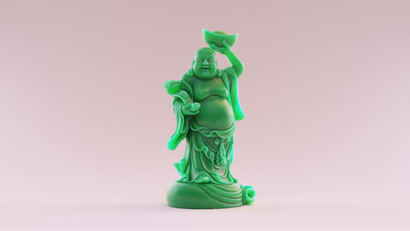 Jade Maitreya Figurine  3D illustration  3D rendering  scan is from stronghero thingiverse.comthing:2431705 - (CC Attribution) Banco de Imagens