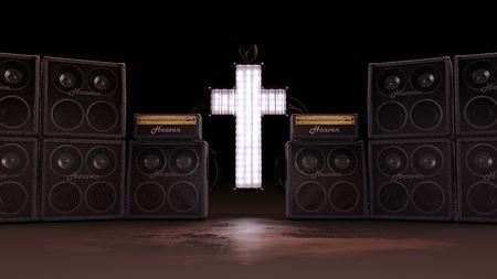 スピーカーと照らされたクリスチャン クロス