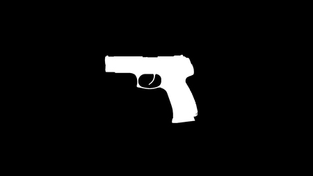 semi-automatic pistol silhouette  3d Illustration  3d Rendering