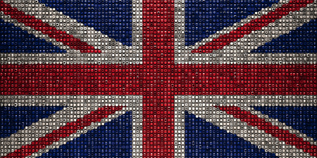 Union Jack Flag made from Bolts Nuts Screws