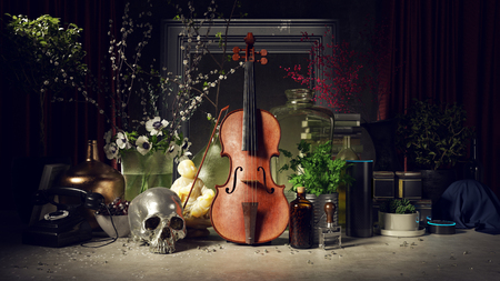 Violin and assorted objects arranged into a Still Life