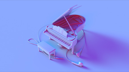 Blue Grand Piano and Earbuds