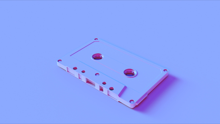 Blue Cassette Tape Stock Photo