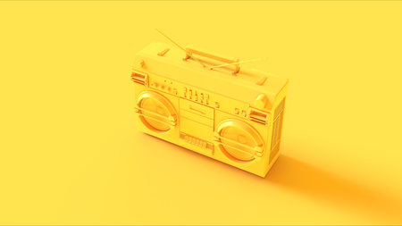 Yellow boombox on a yellow background Stock Photo