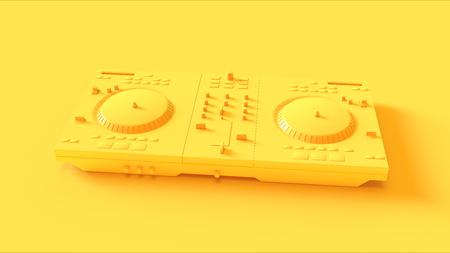 Yellow Dj decks on a yellow background