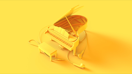 Yellow piano and ear buds on a yellow background