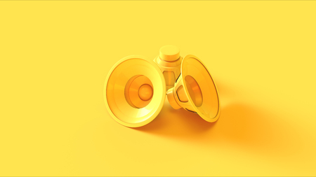 Yellow speakers on a yellow background Stock Photo