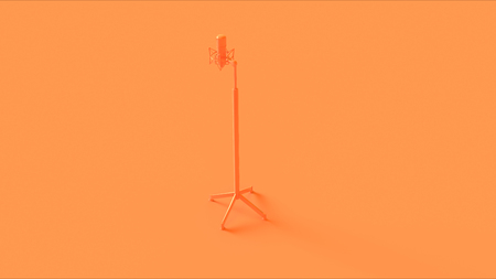 Orange microphone and stand on a orange background