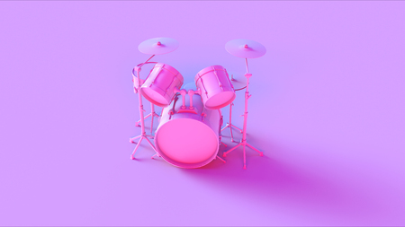 music 3d: Pink drum kit on a pink background Stock Photo