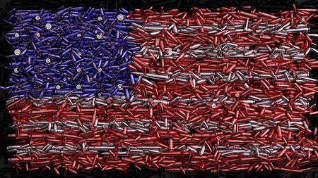 USA Flag formed out of bullets Stock Photo