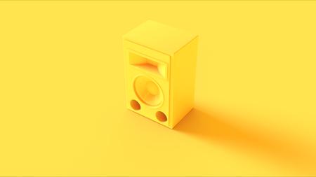 Yellow Speaker isolate on yellow background Stock Photo