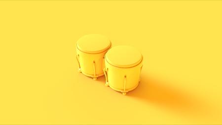 Yellow Bongos  3D illustration  3D rendering